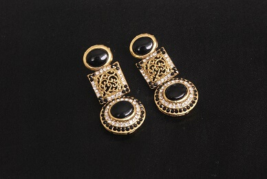 Gold Plated Handcrafted Black colour Earrings