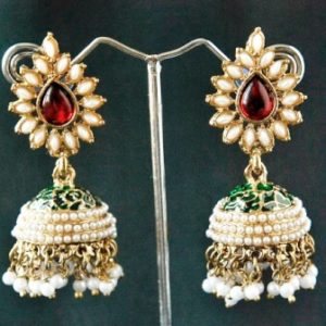 Traditional multicolour marron green jhumki