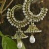 Pearl jhumki earrings in loop