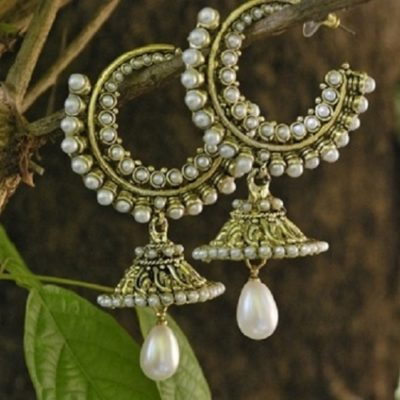 Pearl jhumki earrings in loop