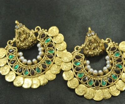 Ram Leela Maroon & Green colour Earrings