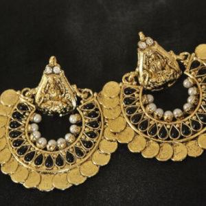 Gold Plated artificial Ram Leela Black colour Earrings
