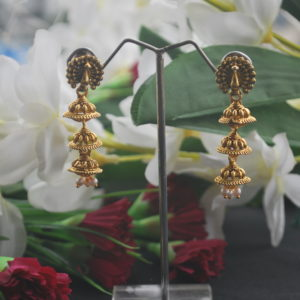 Oxidized earrings peacock motif layered jhumki