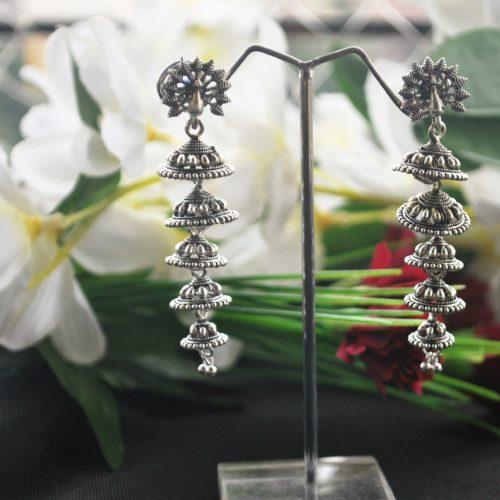 Oxidized earrings peacock motif layered jhumki