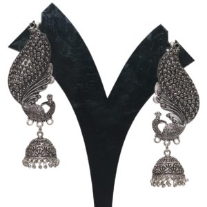 Oxidized earrings peacock motif full kaan jhumki