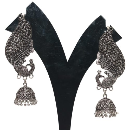 Oxidized earrings peacock motif full kaan jhumki
