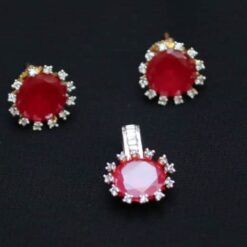 Ruby round artificial AD pendent set with chain