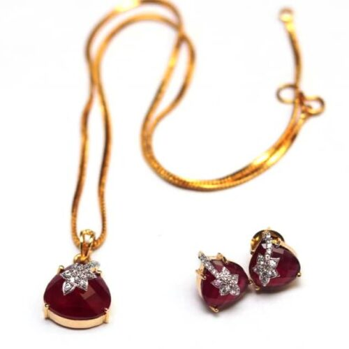 Ruby semi precious AD pendent set with chain