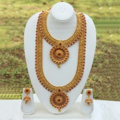 South Indian bridal jewellery set in copper with red stones
