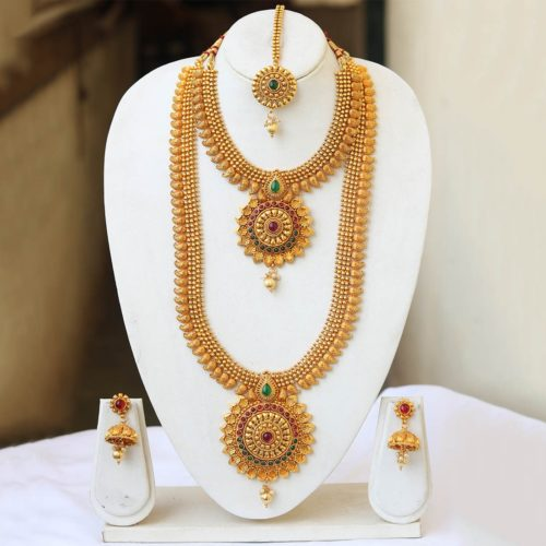 South Indian bridal jewellery set in copper in multicolour