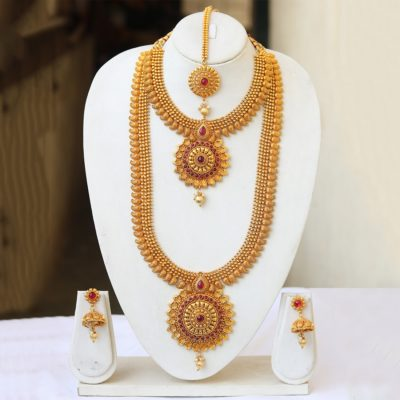 South Indian bridal jewellery set in copper in red stones