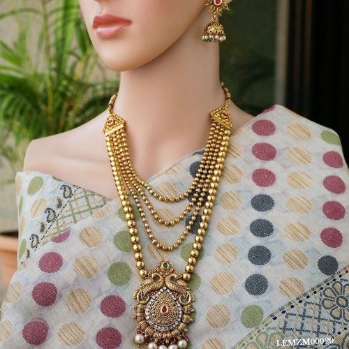 Multilayer gold tone copper long necklace set