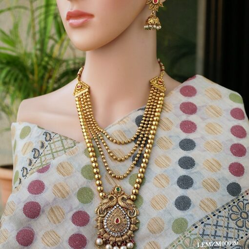 Multilayer gold tone copper long necklace set