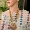 Multilayer multicolour stone studded copper and brass necklace set