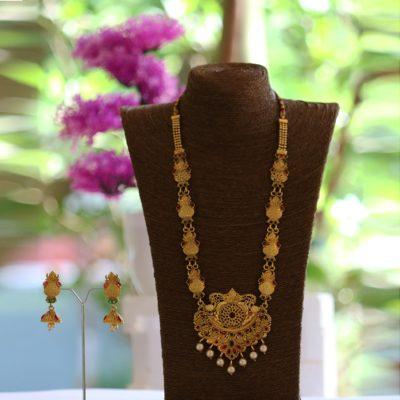 Copper base long haram necklace set