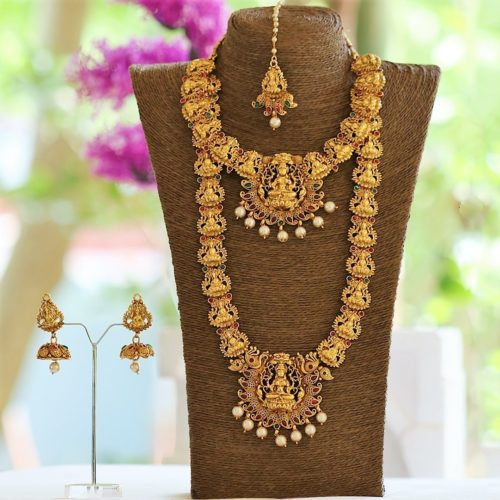 Multicolour stone studded bridal temple jewellery set
