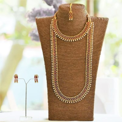 Simple elegant maroon stone studded jewellery set copper base