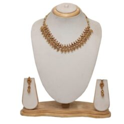 Artificial Gold tone choker wedding necklace set
