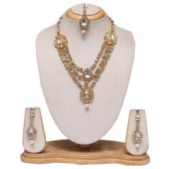 White stone studded layered bridal necklace set