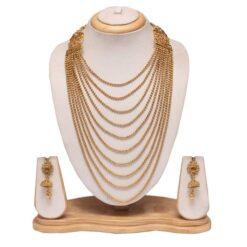 Multilayer golden long haram necklace set