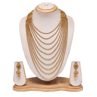 Multilayer golden long haram necklace set