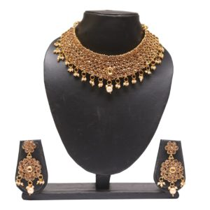 artiicial Gold tone stone studded wedding necklace set