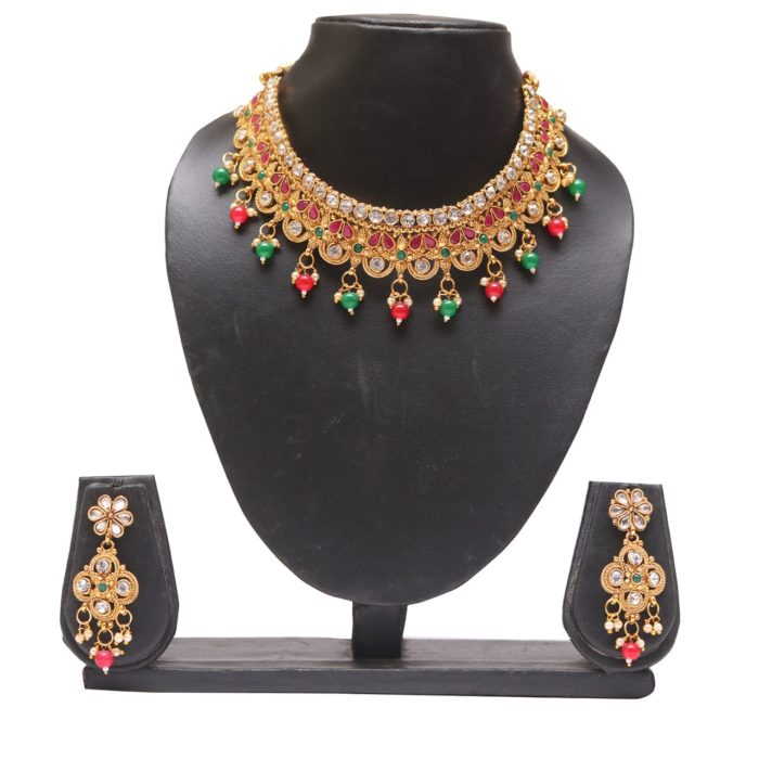 Multicolour stone studded and beads choker wedding necklace set