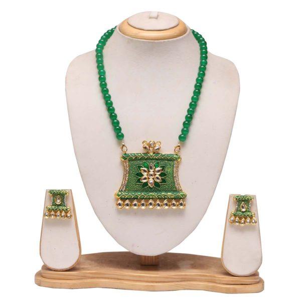 Green mala with green meenakari work