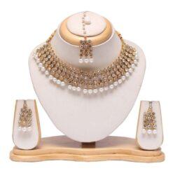 White stone and pearl embellished raani haar wedding necklace set