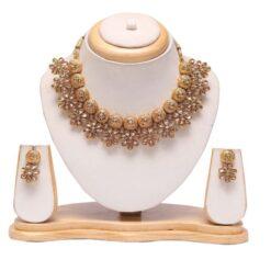 Floral golden choker necklace set