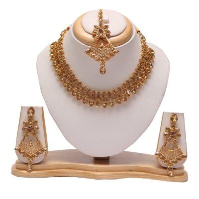 Golden kundan necklace set with tikka