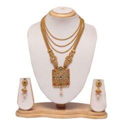 Multilayer multicolour Long haram wedding necklace set