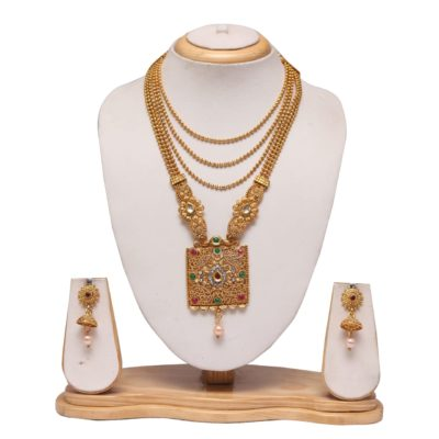Multilayer multicolour Long haram wedding necklace set