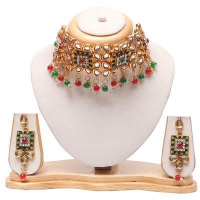 Kundan padmavati multicolour choker necklace set