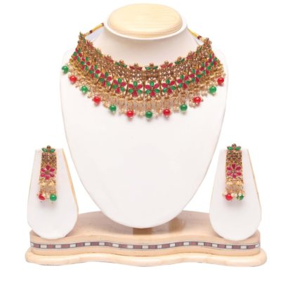 Multicolour bridal choker necklace set