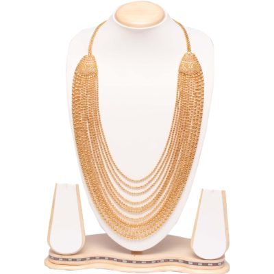 Golden multilayer long haram necklace
