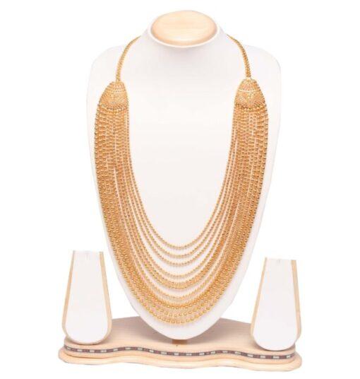 Golden multilayer long haram necklace