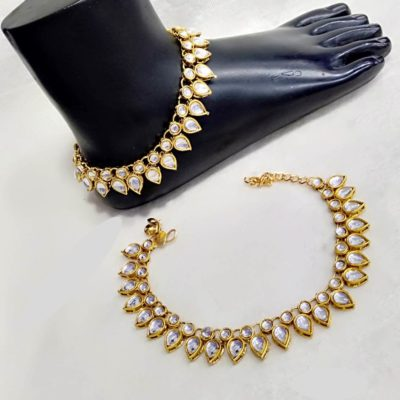 Bridal Kundan white payal