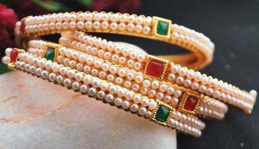 Green and maroon stone studded 4 pearl bangles