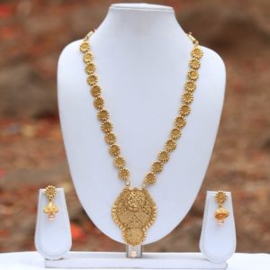Elegant copper base wedding long haram necklace set