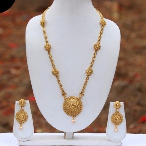 Golden long haram necklace set