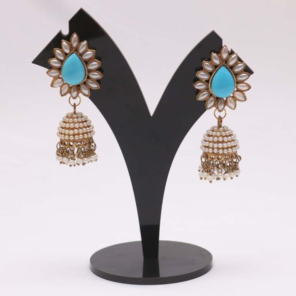 Torquise blue jhumki earrings online