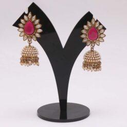 Pink jhumki earrings