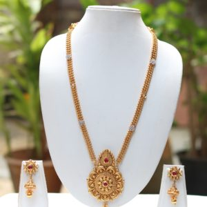 Gold tone long haram necklace set
