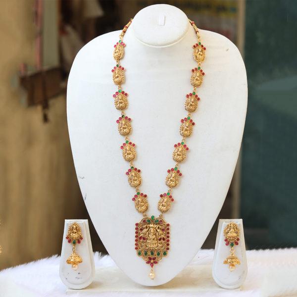 Multicolour Stone stone studded temple jewellery