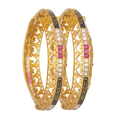 CZ pink and white jadua bridal copper bangles