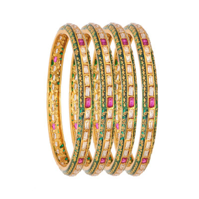 CZ pink and white bridal copper bangles