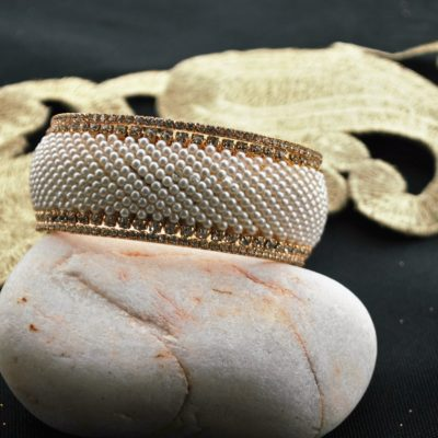 Pearl embellished broad bangle single