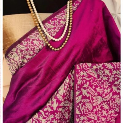 Raw silk weaving Magenta color saree for woman