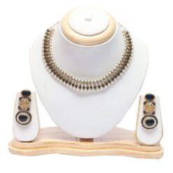 black stone studded choker necklace set